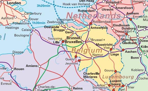 Rail map of Belgium