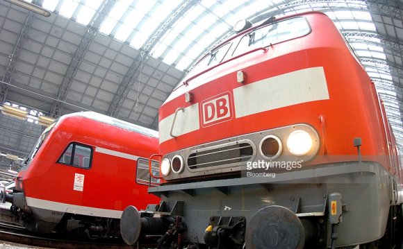 Deutsche Bahn trains are seen